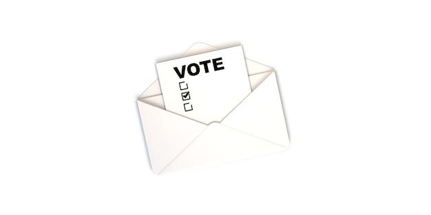 Белый конверт с текстом голосования и флажками баннер для выборов и избирательной кампании