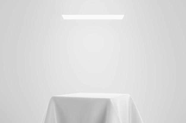 스튜디오 배경에 새틴 섬유 플랫폼 개념 받침대 또는 연단 디스플레이에 흰색 패브릭. 제품을 보여주기위한 빈 선반 스탠드. 3d 렌더링. 프리미엄 사진