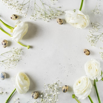 White fashion, flowers flat lay background