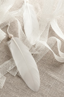 White feather and laces