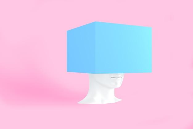 그것에 파란색 상자와 백인 여성 머리
