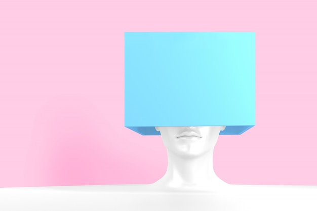 White female head with a blue box on it. concept art 3d illustration