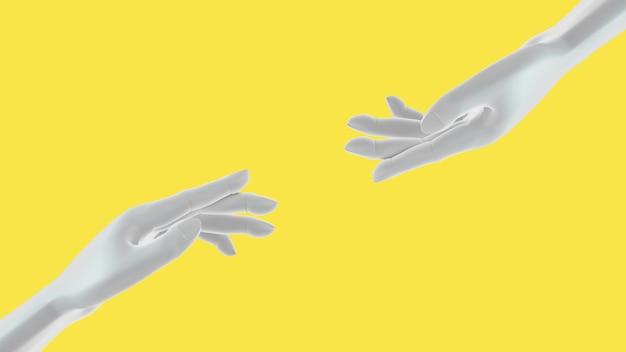 노란색에 손을 돕는 백인 여성