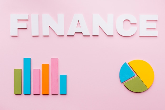 White finance text over the bar graph and pie chart on pink background