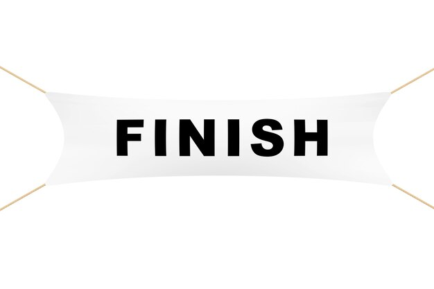 White finish banner with ropes on a white background. 3d rendering.