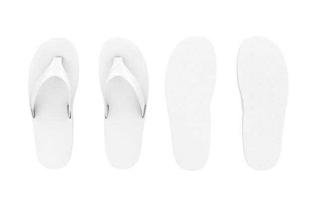 白い背景の上の粘土スタイルの白いビーチサンダル。 3dレンダリング