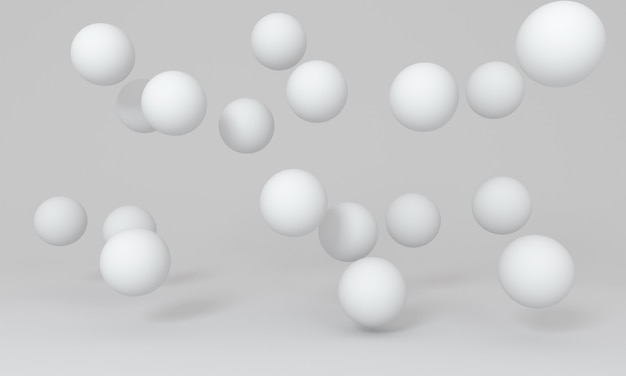 White floating spheres on photography studio background. minimal concept. 3d rendering