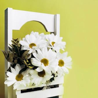 Decorazione del fiore bianco nella cassa di legno contro fondo verde