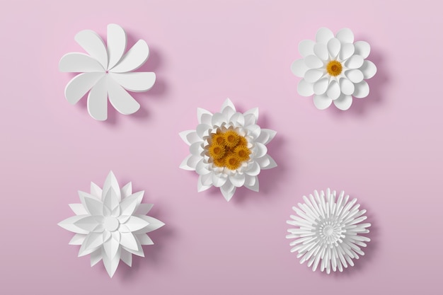 White flower paper style, paper craft floral, 3d rendering, with clipping path.