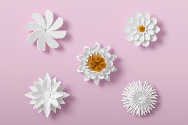 Белый цветочный стиль бумаги, бумажный цветочный, 3d рендеринг, с обтравочный контур.