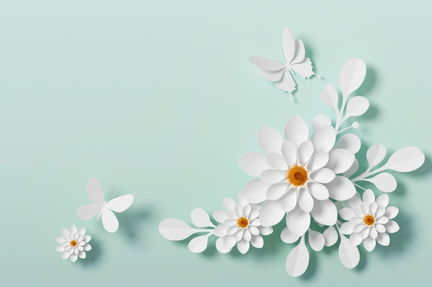 White flower paper style, paper craft floral, butterfly paper fly