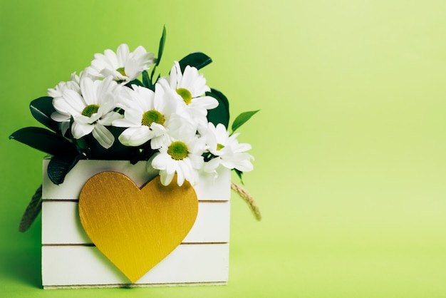 White flower vase with heart shape on green background