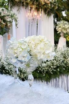 White flower on vase