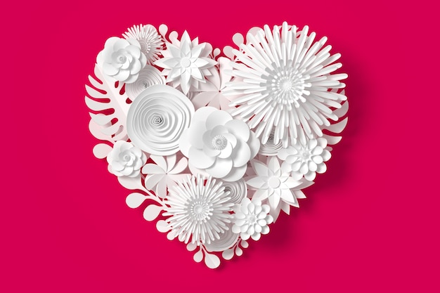 White flowers are heart shape, on pink red background