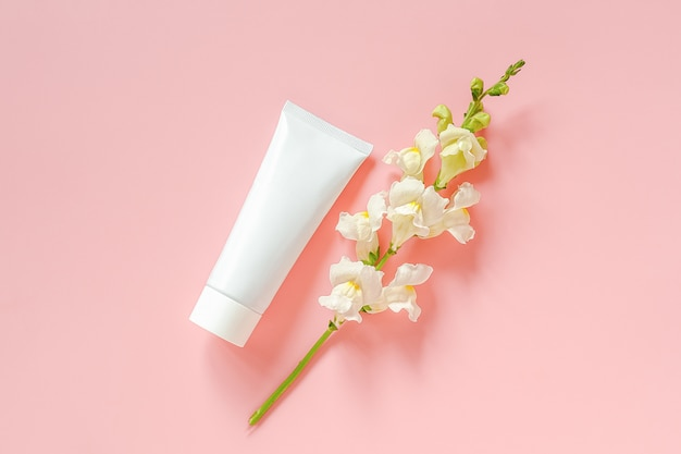 White flowers and cosmetic