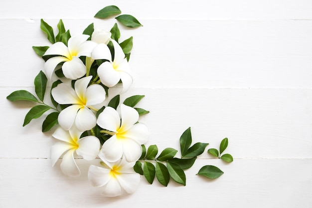 白い花フランジパニアレンジメントフラットレイポストカードスタイル