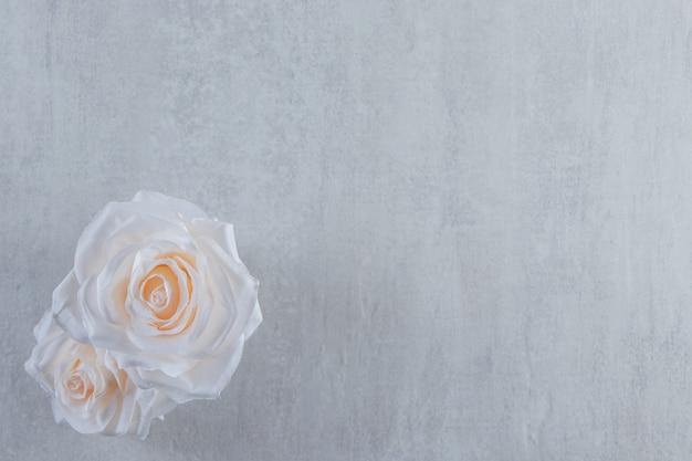 흰색 바탕에 나무 주전자에 흰색 꽃. 고품질 사진