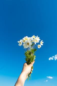 구름과 하늘을 손에 흰 꽃. 여름과 기쁨의 개념. 개념적 사실주의.