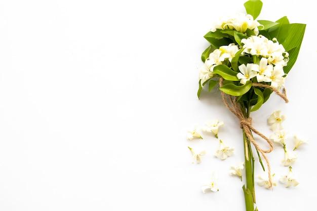 白い花ジャスミンアレンジポストカードスタイル