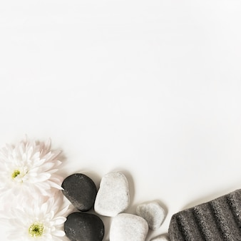 White flowers; la stones and pumice stone isolated over white background