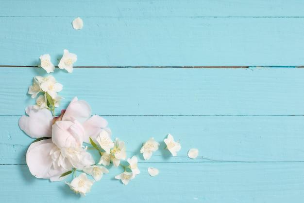 흰색 나무 바탕에 흰색 꽃