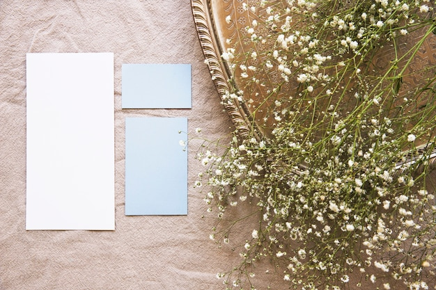 White flowers on tray and pieces of paper