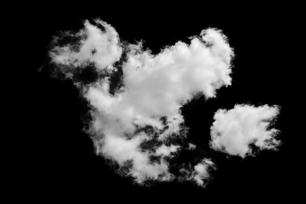 검은 배경에 고립 된 흰 솜털 구름 클립 아트
