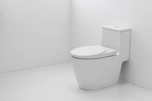 White flush toilet in white bathroom.