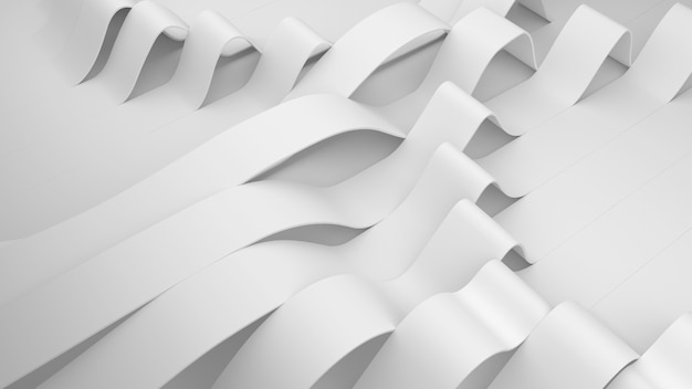 표면에 흰색 줄무늬가 있습니다. 부드러운 빛으로 변형 된 주름진 표면. 최소한의 스타일로 주름이있는 현대적인 밝은 배경. 3d 렌더링 그림.