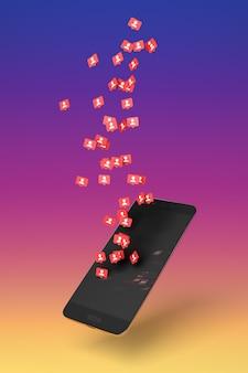 Белые значки последователей на красном фоне, представляющие получение новых подписчиков в социальных сетях, выходят с экрана мобильного телефона на фоне градиентных цветов. 3d иллюстрации