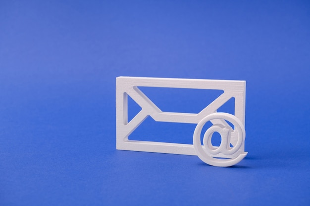 White form figure of mail box inbox receive message