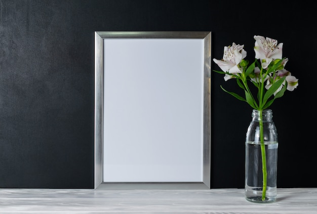 White frame and alstroemeria flowers with copyspace