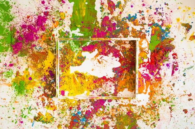 White frame on bright dry colours