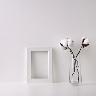 White frame and cotton