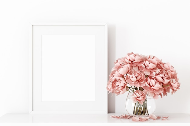 White frame decor with pink flowers