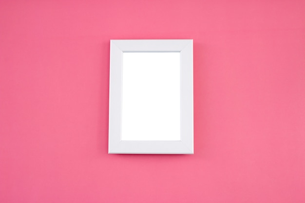 White frame mock up on pink background.