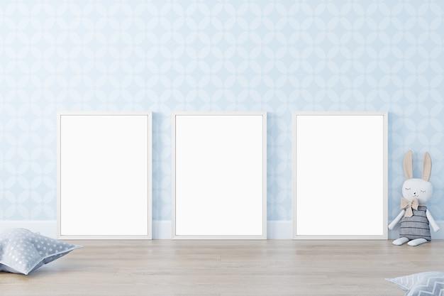 White frame mockup in cute kids room 3d