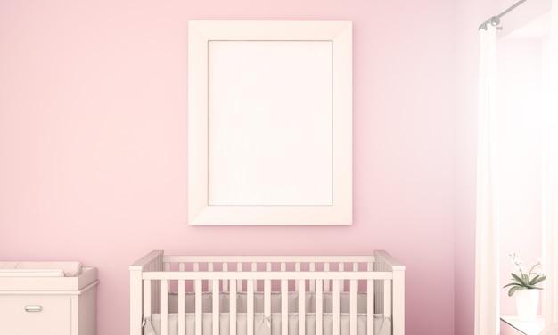 ピンクの赤ちゃん部屋に白いフレームモックアップ