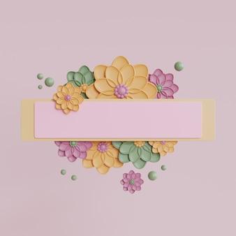 ピンクの花と白いフレームのモックアップ。春のレンダリング
