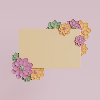 White frame mockup with pink flowers. rendering of spring