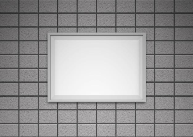 벽돌 벽에 흰색 프레임