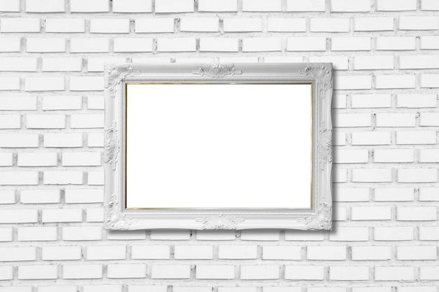 흰색 벽돌 벽에 흰색 프레임