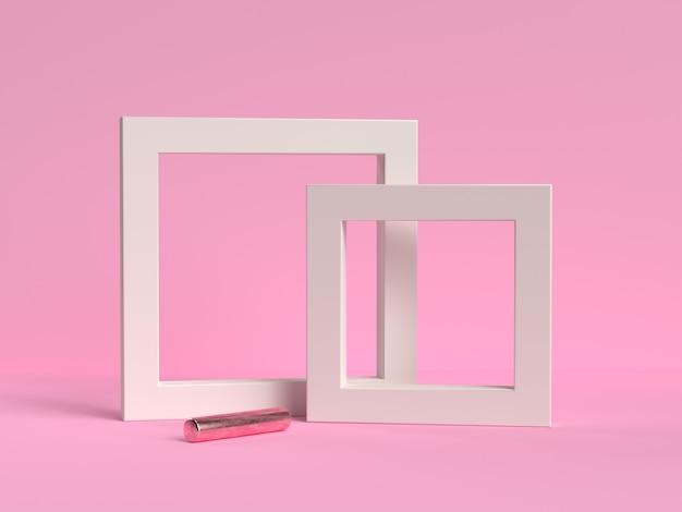 ピンクの背景に設定された白いフレーム