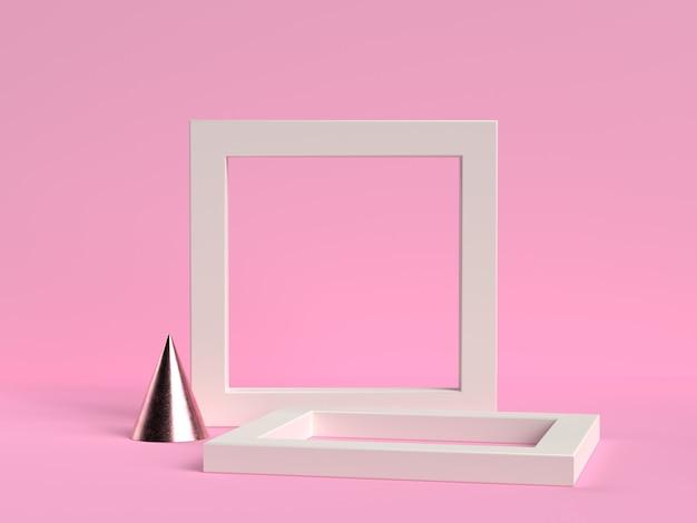 White frame set on a pink background