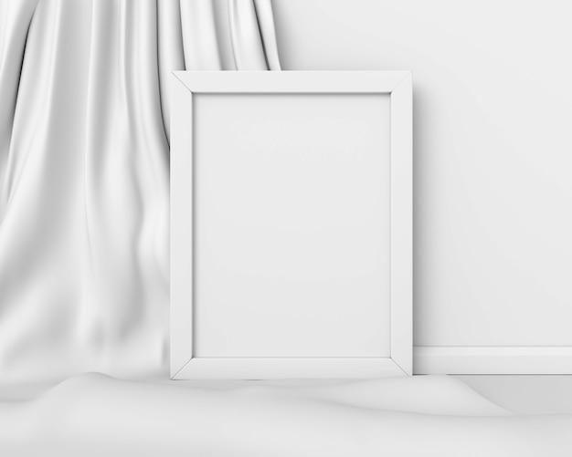 Модель-макет белой рамки вертикальный на белом изображении предпосылки ткани абстрактном. минимальная концепция арт-бизнеса. 3d визуализация.
