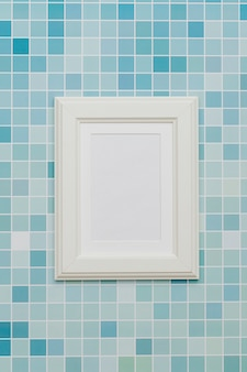 White frame with abstract background.