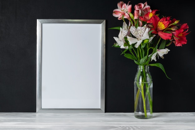 White frame with alstroemeria flowers copy space for text