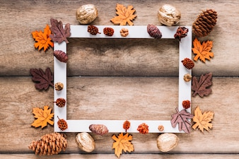 White frame with autumn elements