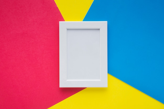 White frame with colorful background