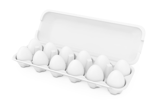 Белые свежие куриные яйца в картонной упаковке коробки как стиль глины на белом фоне. 3d рендеринг